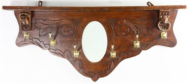 Oak Hall Shelf with Brass Coat Hooks