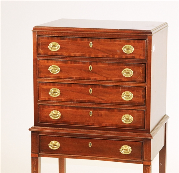 Inlaid Mahogany Silver Chest