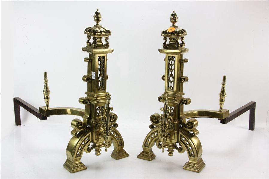 Pair of Ornate Brass Andirons