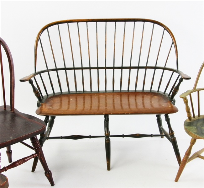 Collection of Miniature Chairs and Windsor Style Bench