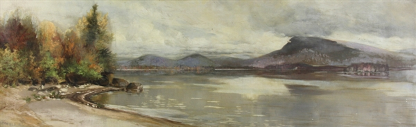 Maxfield, Riverside Landscape, Oil on Canvas