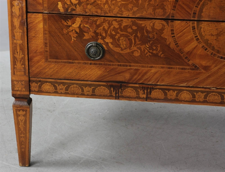 Semi Antique Italian Style Inlaid Three Drawer Chest