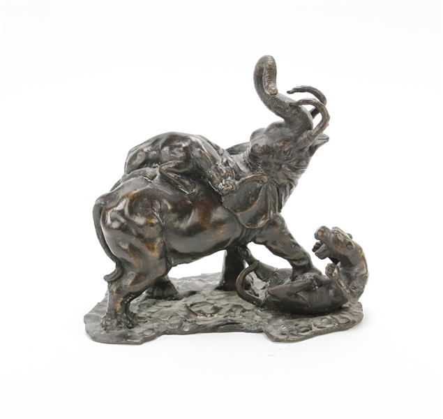 Elephant and Lions Bronze Sculpture
