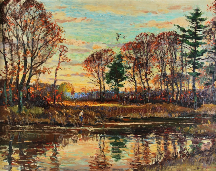 Morrell, Fall River Scene, Oil on Masonite