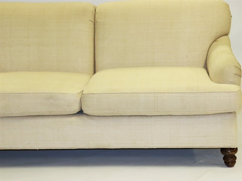 Baker Furniture Raw Linen Upholstered Sofa