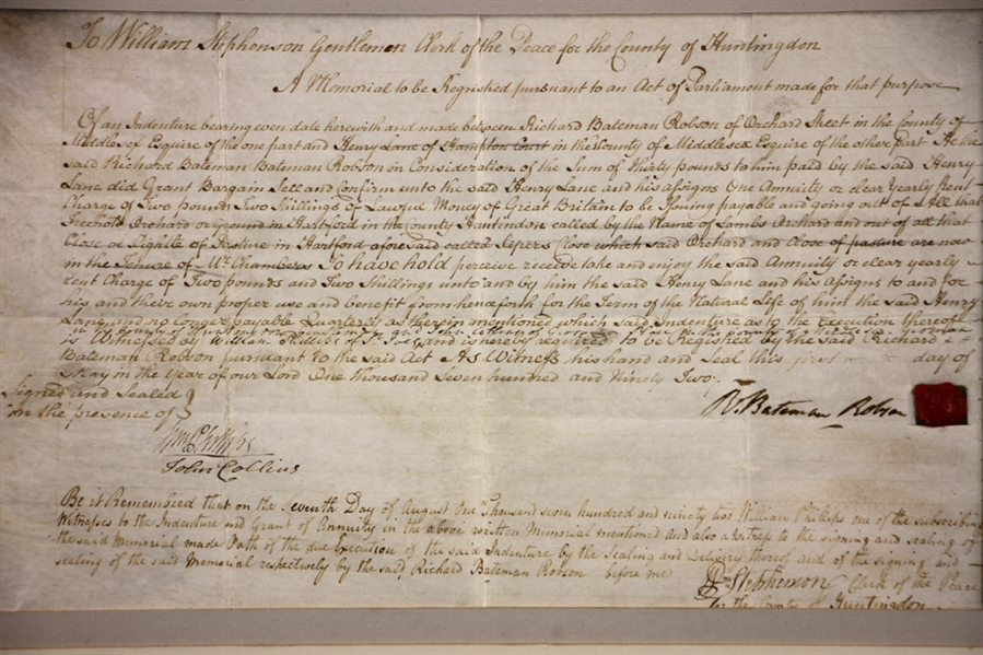 18thC Signed Document from Huntington County