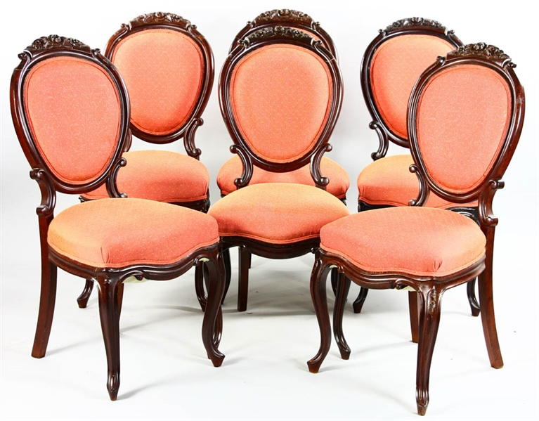 Set of Six Carved Walnut Victorian Side Chairs