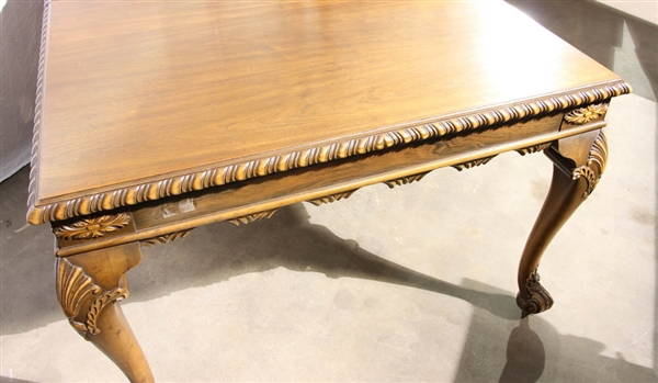 Mahogany Dining Table with Carved Apron
