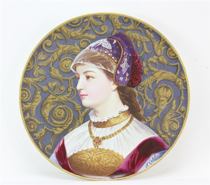 French Porcelain Plaque of Young Girl