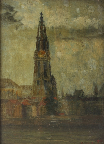 Elijah Baxter Jr, View of Cathedral, Oil on Canvas