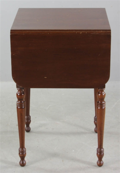 Two Drawer Mahogany Drop Leaf Stand