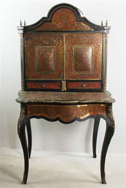19thC French Boulle Style Inlaid Secretary Desk