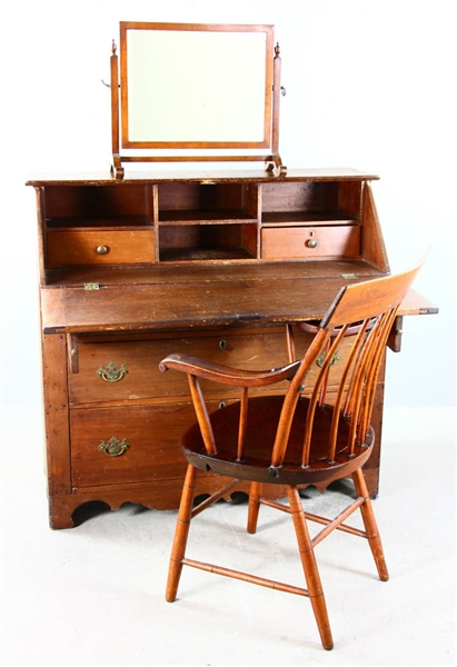 Early American Slant Lid Desk, Chair, Mirror