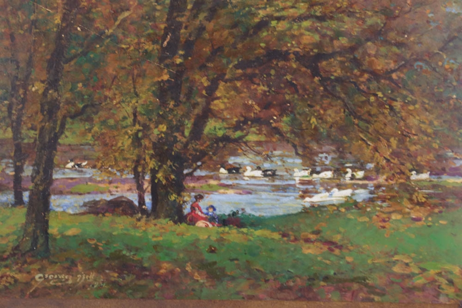 George Weil, Boston Duck Pond, Oil Watercolor