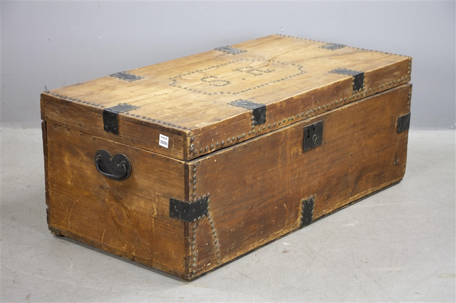 Early Salem Trunk with Brass Tacks