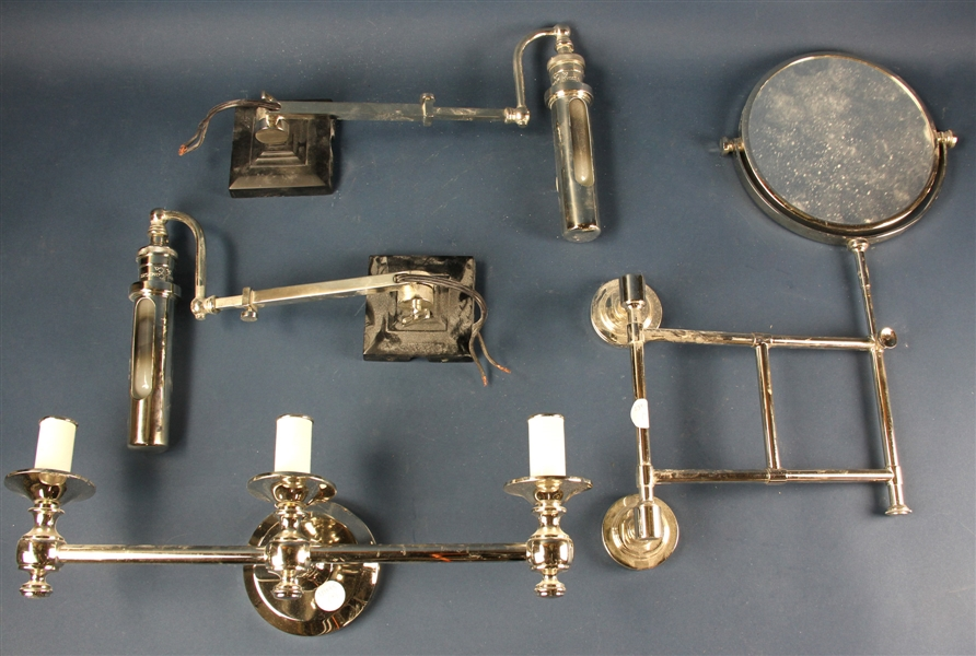 Group of Chrome Items, Sconces, Mirror, Etc