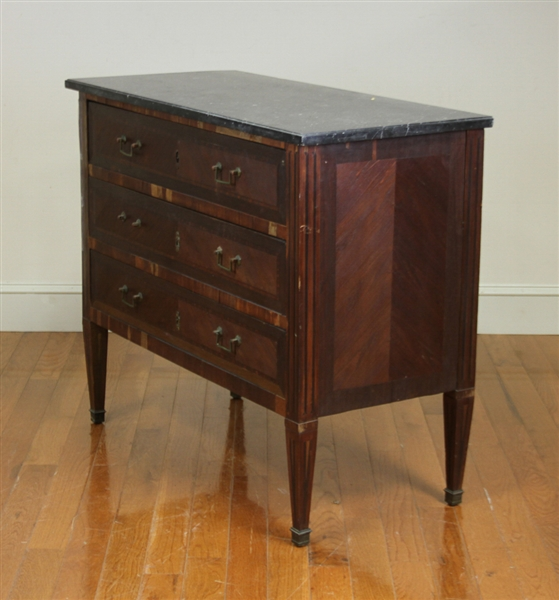 Antique French 3-Drawer Marble Top Chest