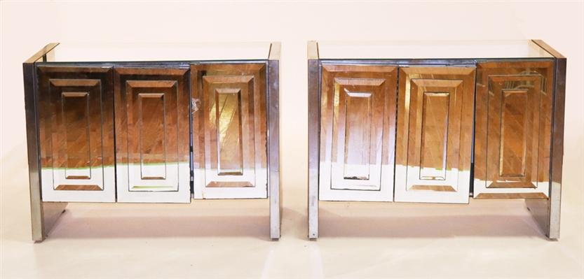 Pair of Mid Century Modern Mirrored Cabinets