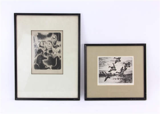 Two Etchings by Ojay Wikon and Hans Kleiber