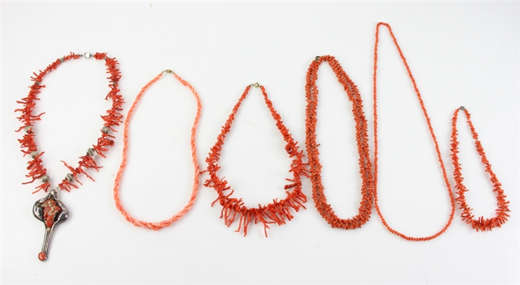 Six Coral Necklaces