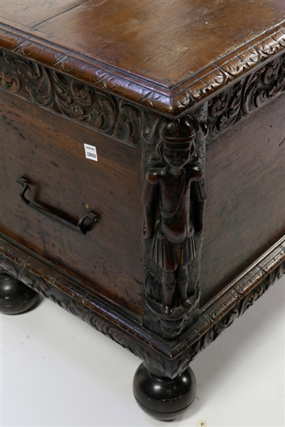 18th to 19thC Carved Oak Marriage Chest
