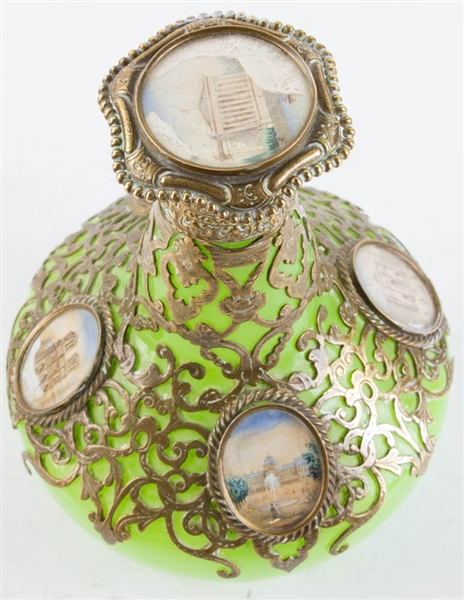 19thC Baccarat-Style Perfume Bottle w/ Silver Overlay