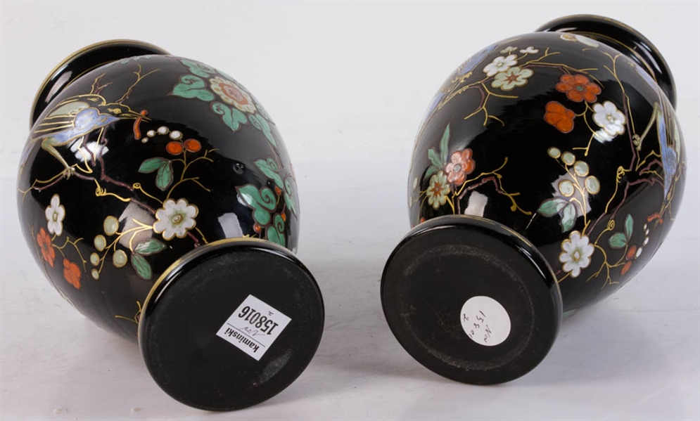 Pair of 19thC Enamel Decorated Glass Vases