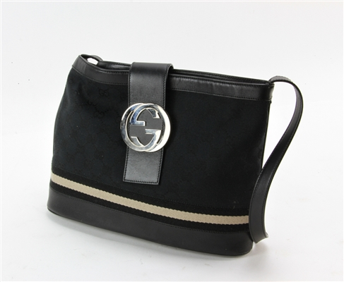 Gucci Black Leather and Fabric Handbag