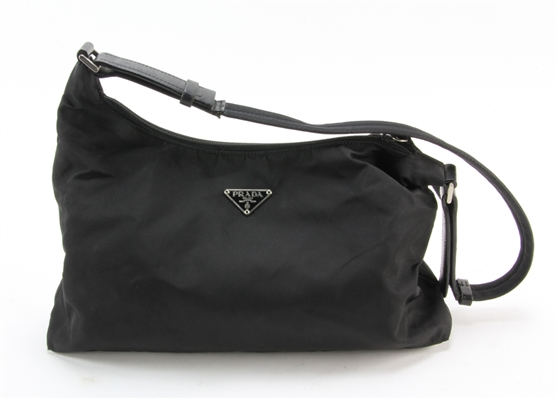 Prada Black Fabric Handbag with Leather Trim