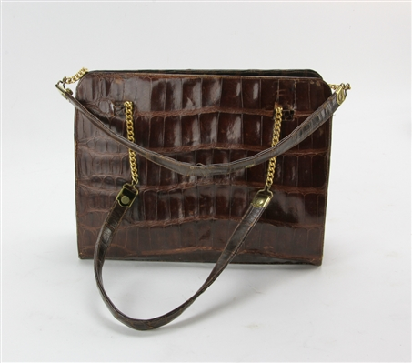 Vintage 1950s Crocodile Brown Handbag