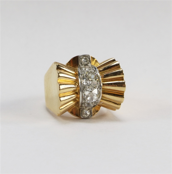 French Vintage 18k Gold Bow Tie Ring with Diamonds