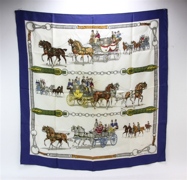 Two Hermes Silk Equestrian and Dogs Scarves