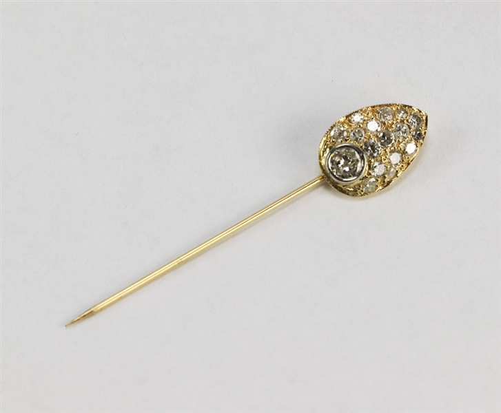 Antique 14k Gold and Diamond Stick Pin