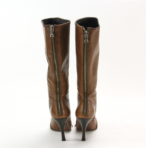 Prada Brown Leather High Boots