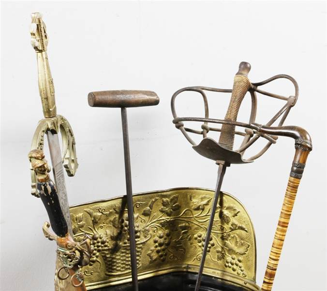 Embossed Brass Cane and Sword Stand