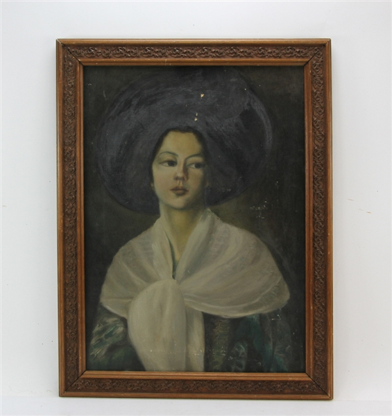 Boston School, Portrait of Young Woman, Oil on Canvas
