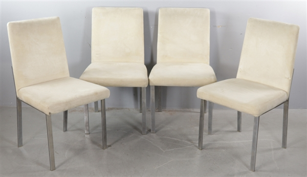 Set of Four Side Chairs, Suede and Chrome