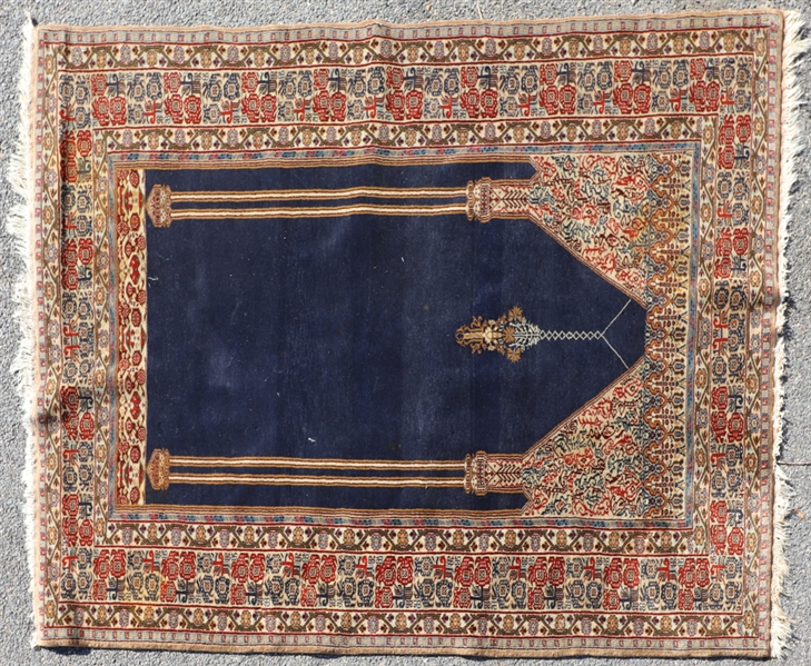 Semi Antique Persian Tabriz Prayer Rug
