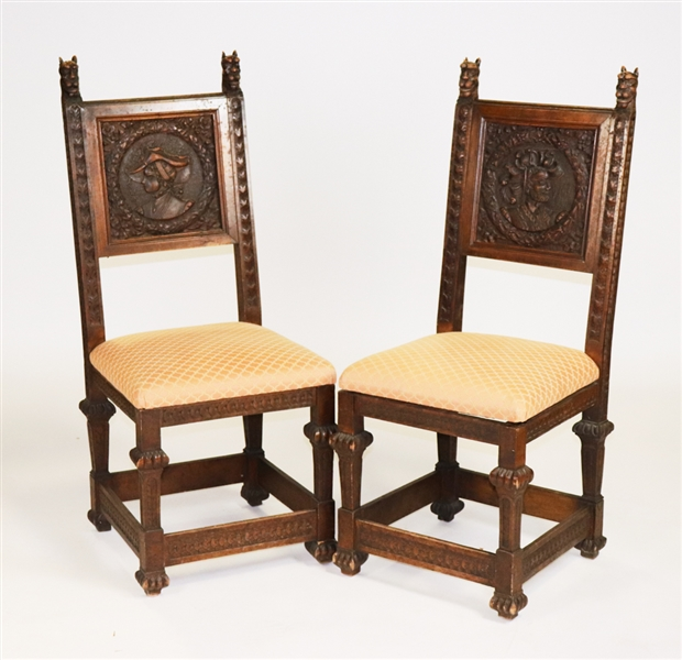 Pair of 19thC Venetian Hand Carved Wooden Chair