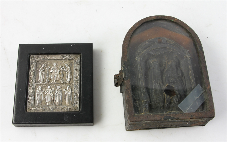 Antique Reliquary and Silver Icon