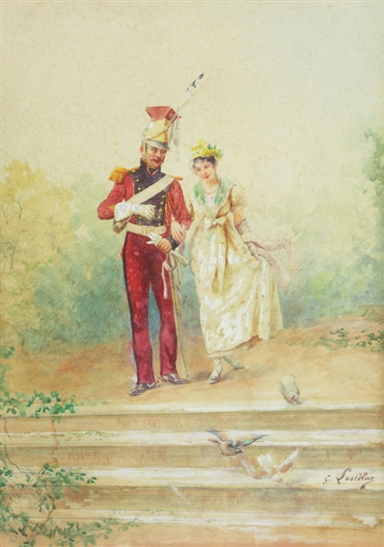 G. Laschaz, Guard with Young Lady, Watercolor