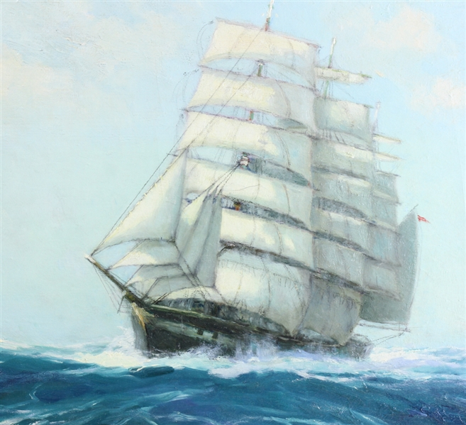 Bessonnat, Ship at Full Sail, Oil on Canvas