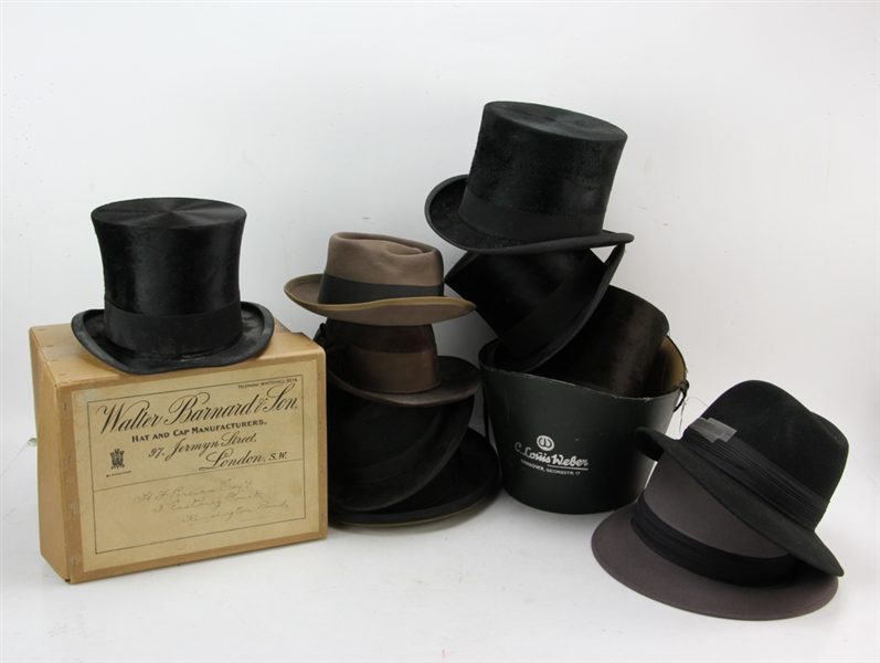 Early Beaver Fur Hats, Top Hats, Etc.