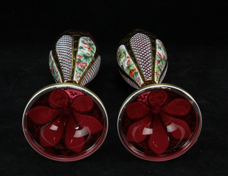 Pair of Bohemian Decorated Glass Vases