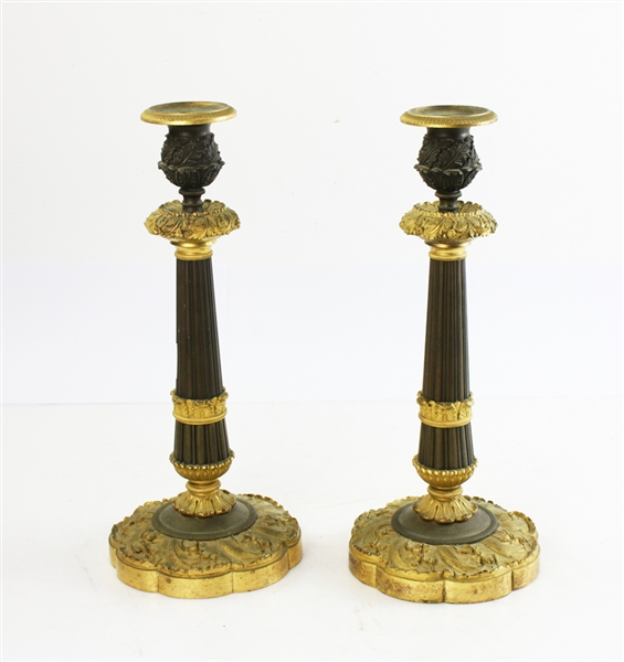 Pair of 19th C Bronze Candlesticks
