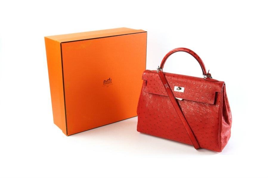 Hermes Kelly 28 Ostrich Leather Satchel