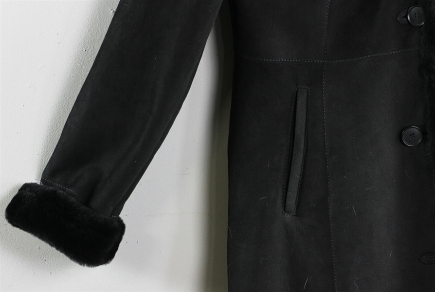 Canadian HSO Brand Jet Black Suede Shearling Coat