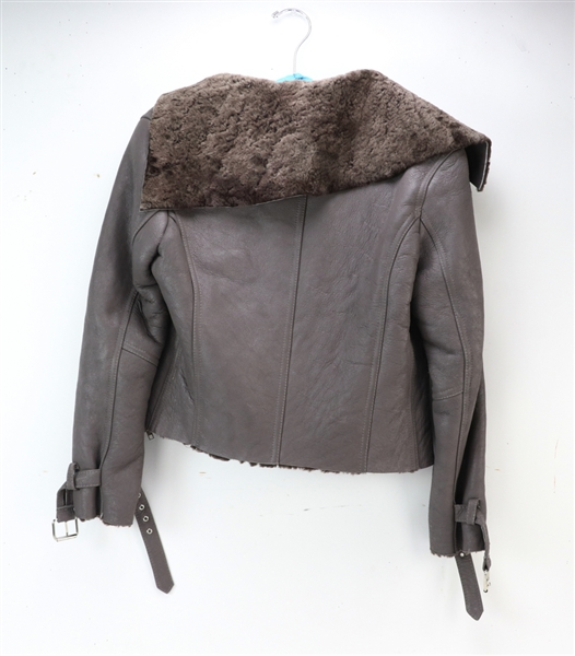Doma Taupe Leather Motorcycle Jacket