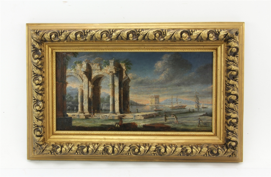 18thC Italian View of Ruins, Oil on Canvas