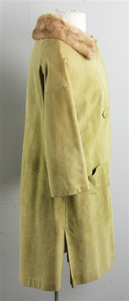 Suede Vintage Women's Dress Coat w/ Mink Collar